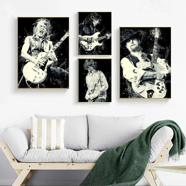 <font><b>RANDY</b></font> <font><b>RHOADS</b></font> RITCHIE BLACKMORE ROGER McGUINN THURSTON MOORE Poster Canvas Painting Home Decor No Frame image