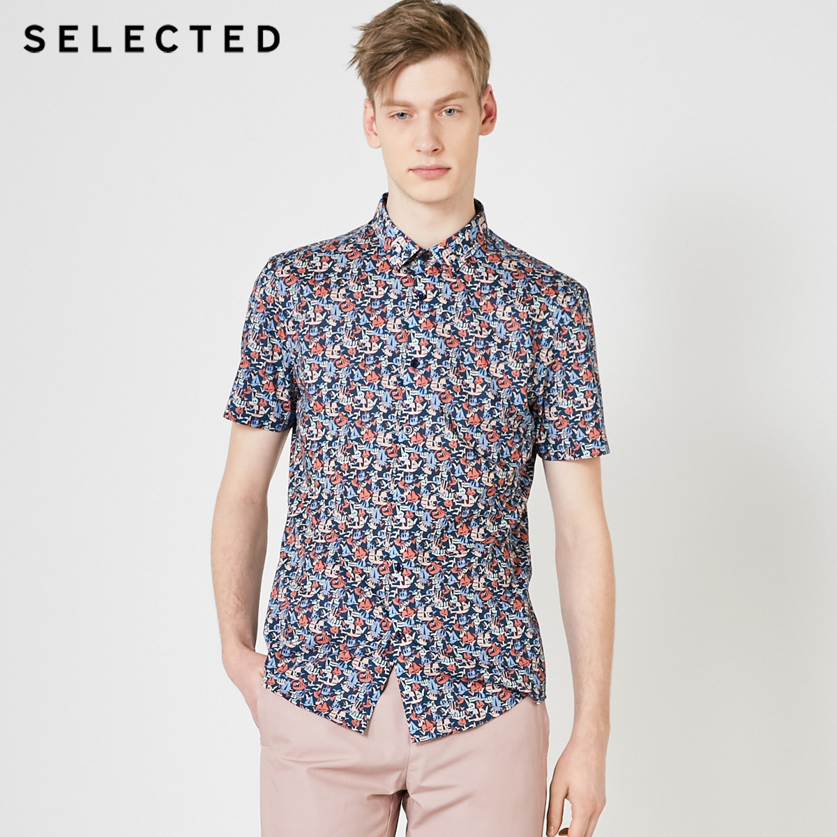 SELECTED Men's Cotton Printed Retro Casual Short-sleeved Shirt S|419204557