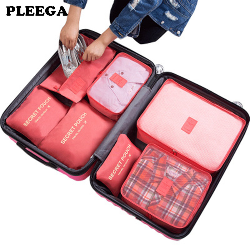 PLEEGA 7Pcs/set Travel Organizer Suitcase Clothes Finishing Kit Portable Partition Pouch Storage Bags Home Travel Accessories