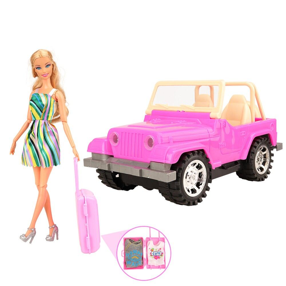 Модные 14 предметов/набор, детские игрушки = 1 Игрушечная машина, внедорожник + 13 кукольных аксессуаров, дорожная тележка для влюбленных авто ...