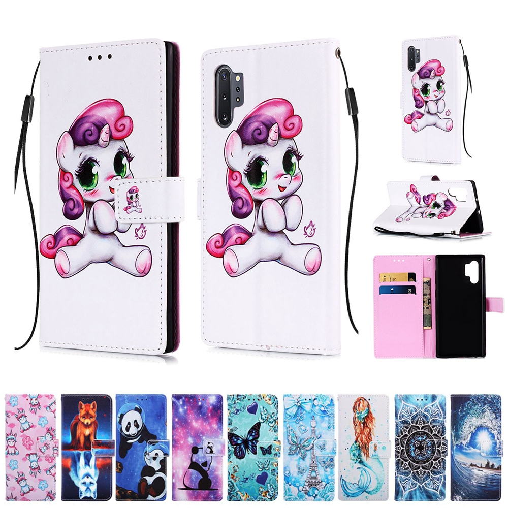 Note 10 Case for Samsung Galaxy Note 10 Pro Case New Unicorn Painted Flip Leather Cover for Samsung Note 10 Phone Holder Case