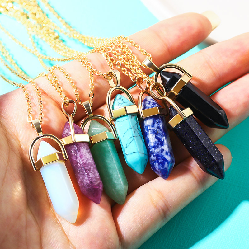 Bicux Natural Stone Bullet Shape Crystal Pendant Necklaces Fashion Moon Double Gold Chain Women Necklace Jewelry Pendant Necklaces Aliexpress