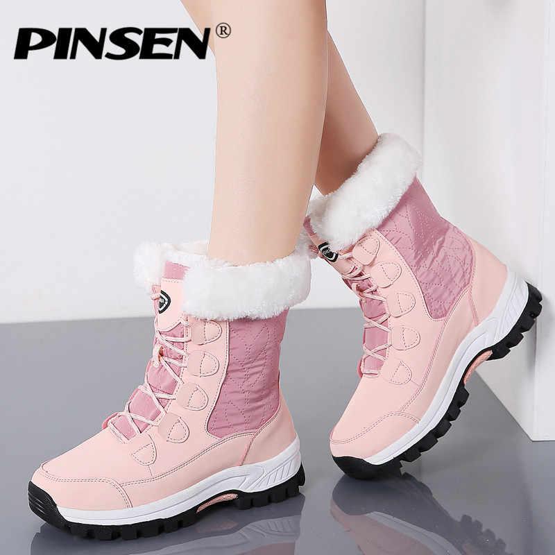PINSEN 2020 kış kadın kar botları yüksek kaliteli sıcak itme orta buzağı çizmeler kadın platformu kadın dantel-up su geçirmez Botas Mujer