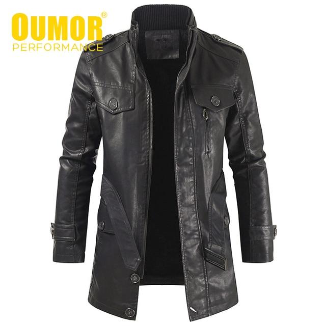 Oumor Men Winter Casual Long Warm Fleece PU Leather Jacket Coat Men Outwear Brand Thick Punk Motor Vintage Leather Jackets Men
