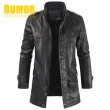 Oumor mężczyźni Winter Casual długa, ciepła kurtka ze skóry sztucznej z polaru mężczyźni znosić marka gruby Punk Motor Vintage kurtki skórzane męskie