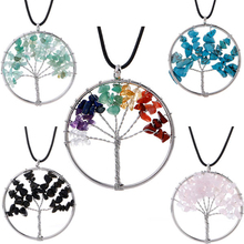 Hot Tree of Life Crystal Round Small Pendant Necklace Natural Crushed Stone Rich Elegant Women Jewelry Colorful Gifts Angel