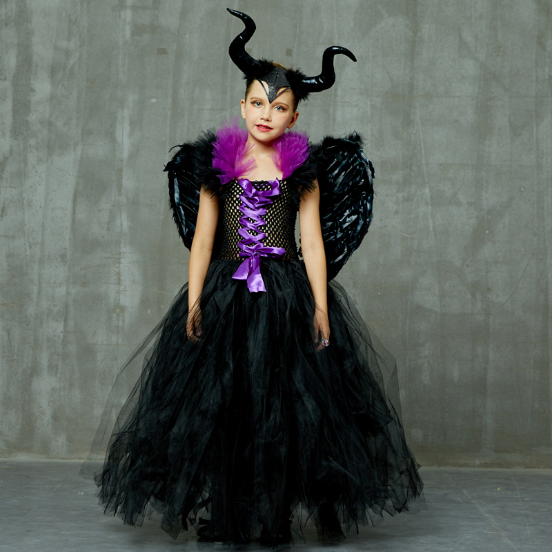 Maleficent Black Gown Tutu Dress with Deluxe Horns and Wings Girls Villain Fancy Dress Kids Halloween Cosplay Witch Costume (24)