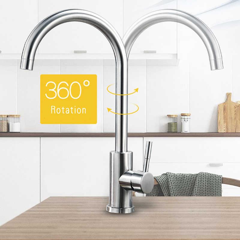 Mutfak musluk misturador de água quente e fria torneira da pia cozinha torneiras aço inoxidável 360 rotatable escovado baterie kuchenne