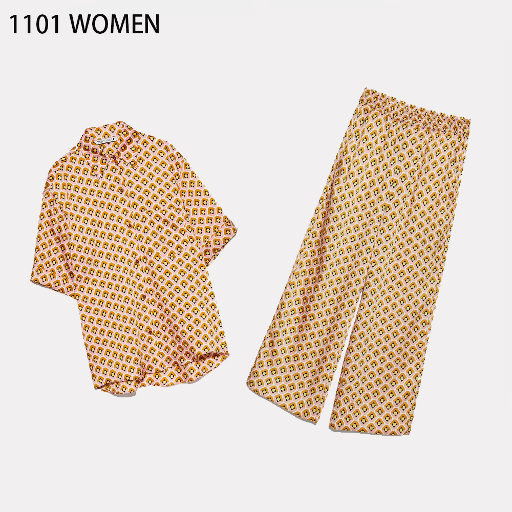 2020 NEW Spring Women 2 Pieces Set Geometric Print Turn-down Collar Short Sleeve Tops Blouse Long Pant Suit Female Woman Clothes