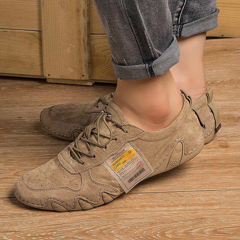 Fashion Outdoor Leather Men Casual Shoes For Men Fashion Four Season Men Flats Shoes Lace-up Comfortable Walking Men Shoes W5