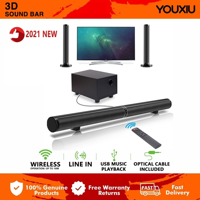 YOUXIU 65W TV Sound Bars Home Theater Soundbar Separable Bluetooth 5.0 Speakers Echo Wall Bar With Subwoofer Boost Bass 1