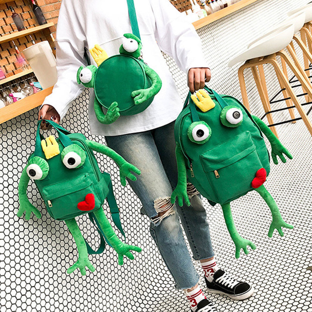Creative 3D Vivid Frog Plush Backpack Waterproof C
