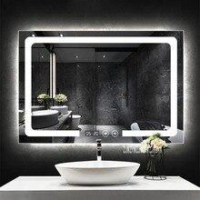 CTL300 умное настенное зеркало для ванной комнаты прямоугольный сенсорный выключатель противотуманное зеркало для ванной со светодиодной подсветкой 110 V/220 V(700x900mm