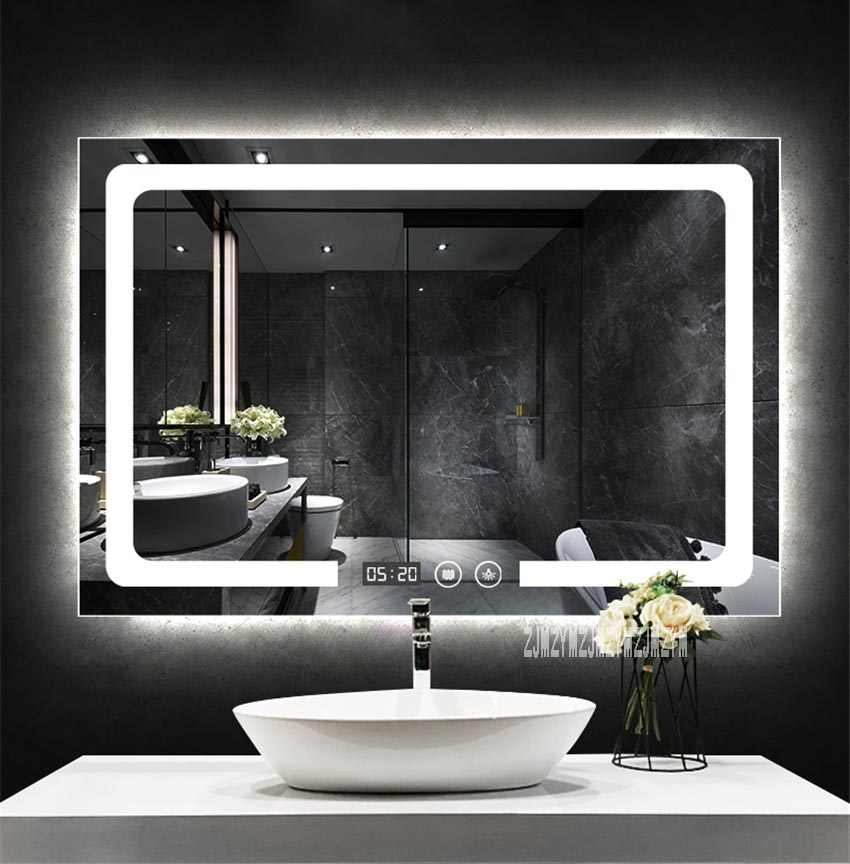 Miroir De Salle De Bains Intelligent Mural Avec Interrupteur Tactile Rectangulaire Anti Buee Miroir De Salle De Bains Avec Lumiere Led 110v 220v 700x900mm Aliexpress