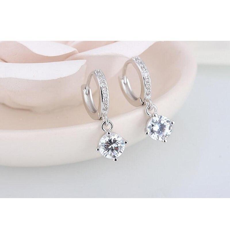 925 пробы серебряные серьги мозаика CZ четыре когти циркон Висячие серьги для женщин oorbellen brincos pendientes S E401|Серьги-подвески|   | АлиЭкспресс