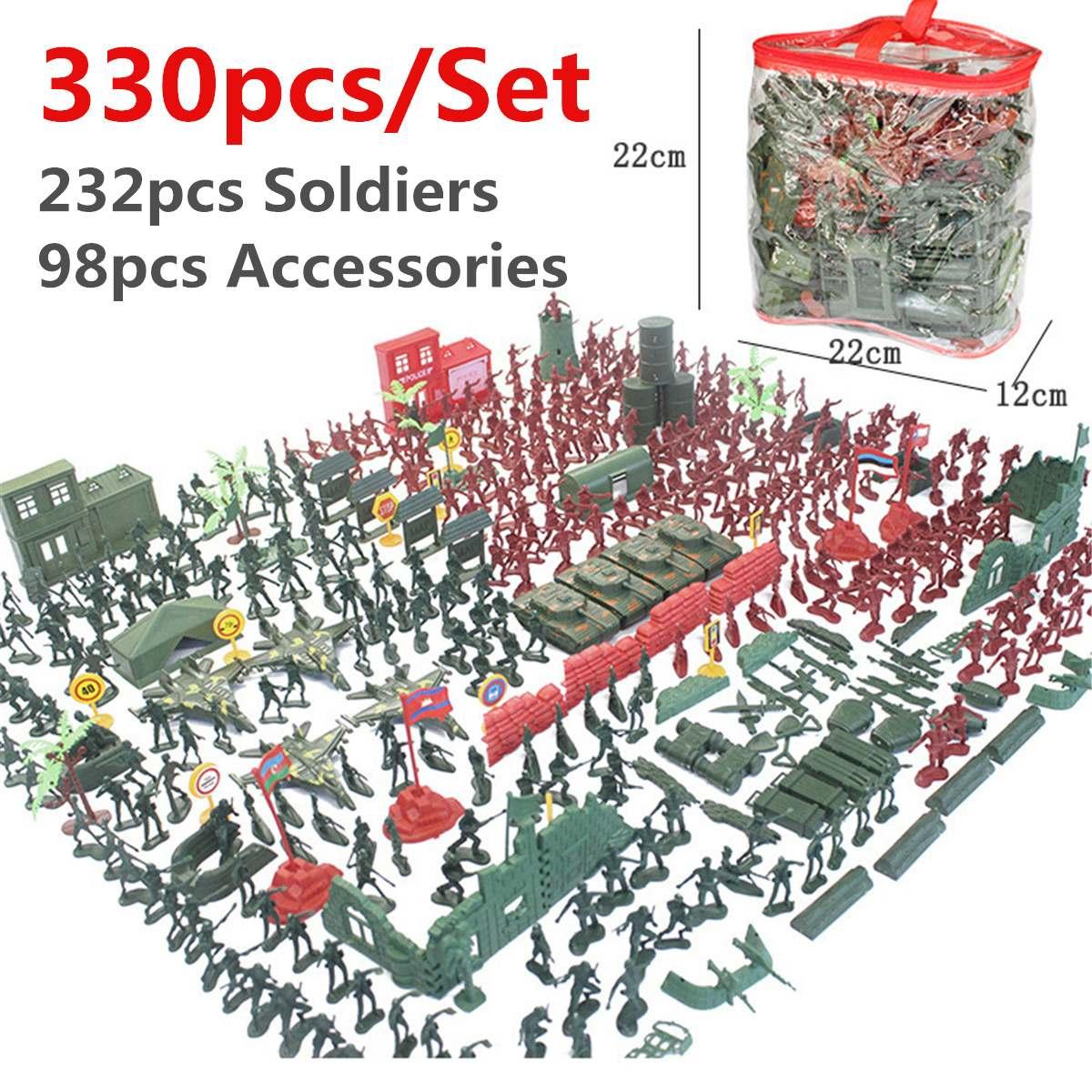 290pcs/330pcs/set Military Plastic Model Playset Kit Toy  Army Men Figures & Accessories Decor Gift Model Toys For Children