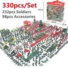 Presente de natal 290 pces/330 pçs/set plástico militar modelo playset kit brinquedo do exército figuras & acessórios decoração presente modelo brinquedos