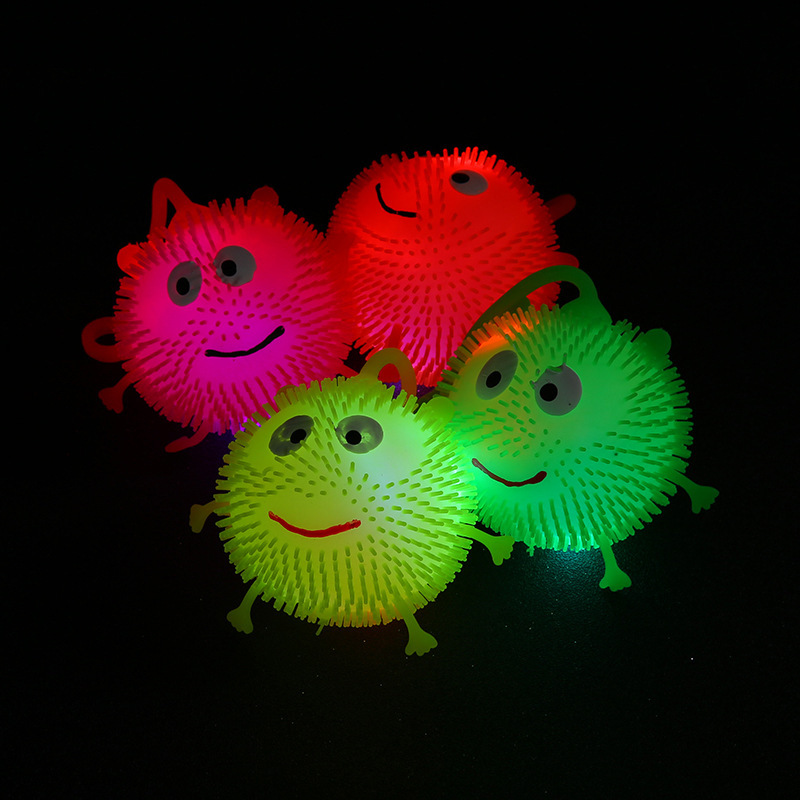Special Offer Shining Pom Smiley Flash Elasticity Pom Glowing Toy Night Market Stall Hot Selling Children