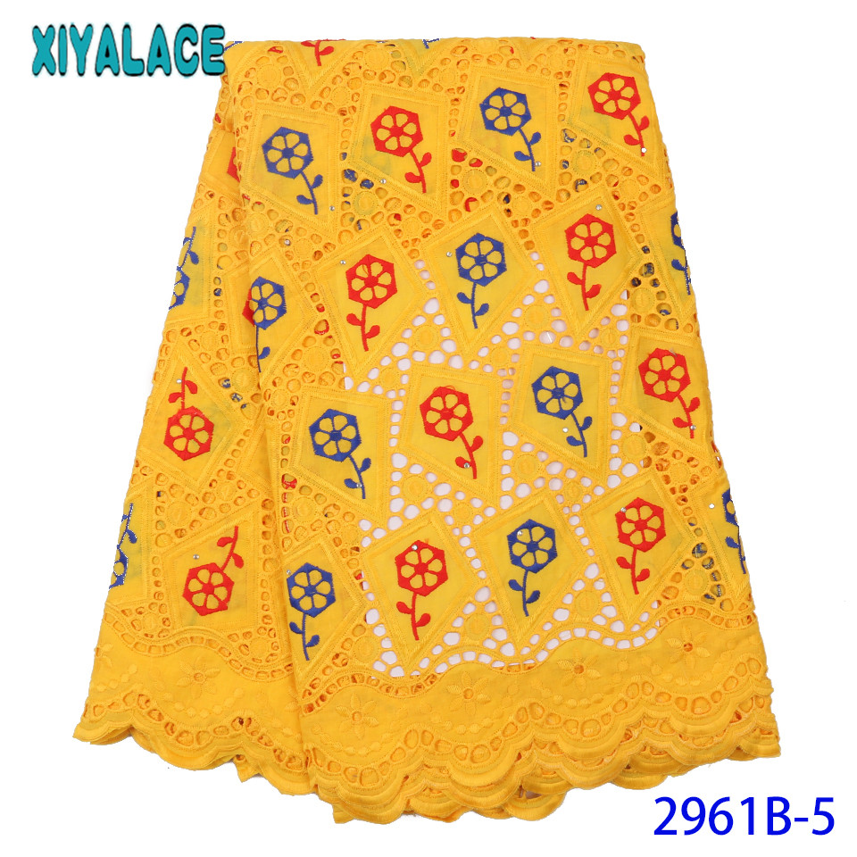 Latest African Laces 2019 Swiss Lace Fabric Hot Sale Dry Cotton Fabric Lace With Stones Flower Pattern Yellow KS2961B-5