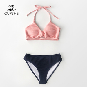 Image 3 - CUPSHE Textured Pink and Navy Halter Bikini Sets Sexy V neck Cut Out Swimsuit Two Pieces Swimwear Women 2020 Beach Bathing Suit