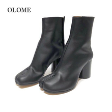 Autumn Fashion Split Toe Boots Women Chunky Round High Heels Leather Botas Mujer 2019 New Brand Design Winter Shoes