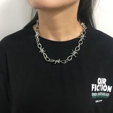 Женское Ожерелье с колючей проволокой в стиле хип-хоп панк, колье на цепочке, подарки для друзей, Collares de Moda