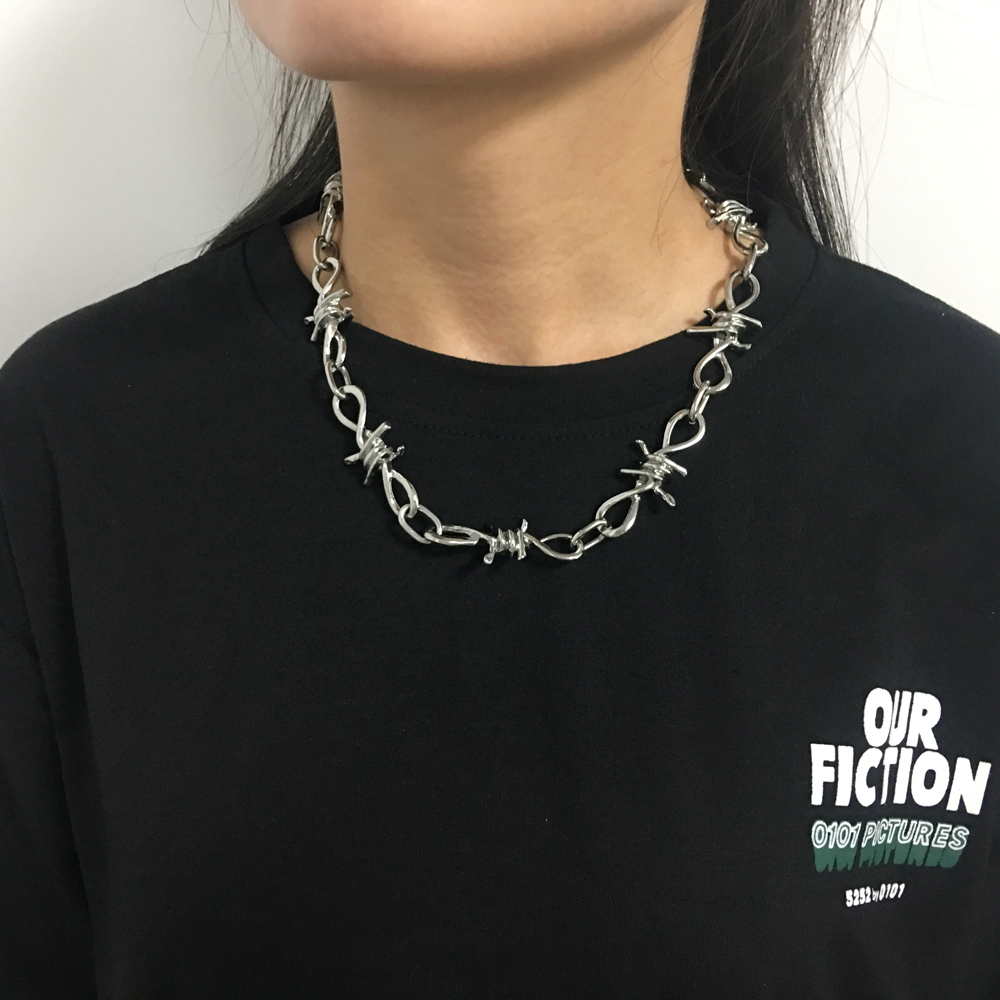 Wire Brambles Necklace Women Hip hop Punk Style Barbed Wire Brambles Link Chain Choker Gifts for Friends Collares de Moda 2019