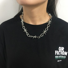 Wire Brambles Necklace Women Hip-hop Punk Style Barbed Wire Brambles Link Chain Choker Gifts for Friends Collares de Moda 2019(China)