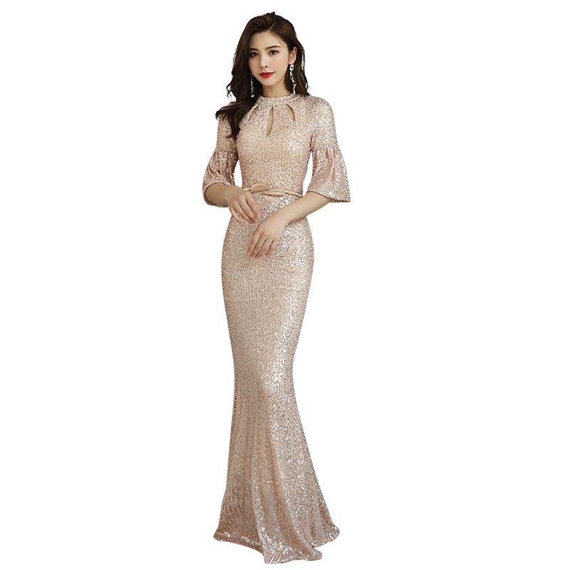 Evening     Dress   Half-sleeve Elegant Women Party   Dresses   2019 Sequin Zipper Robe De Soiree Sexy O-neck Hollow Formal Gowns F100