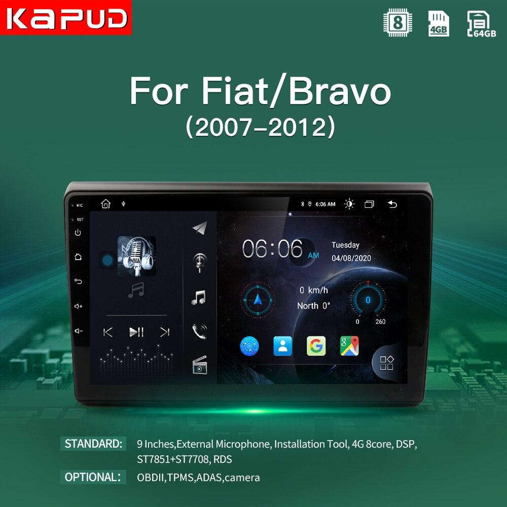 Kapud-Radio Multimedia con GPS para coche, Radio con reproductor, Android 10, 4G, navegador estéreo, DSP, WIFi, SWC, para Fiat/Bravo 2007, 2008, 2009, 2010, 2011, 2012