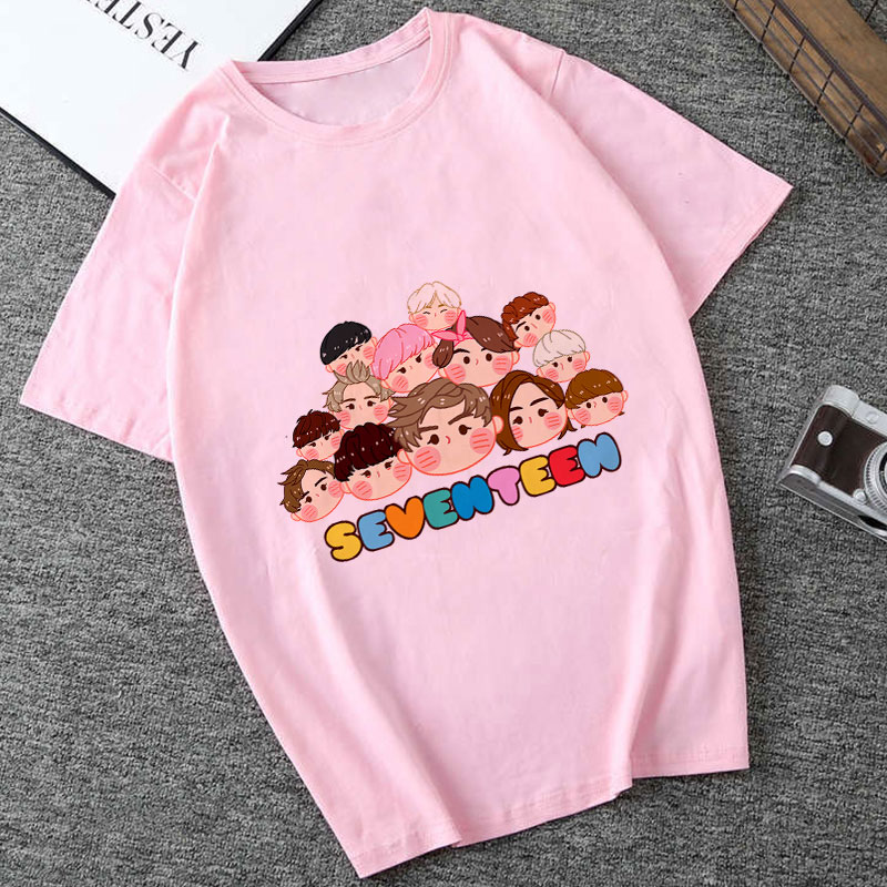 Seventeen Tshirt Harajuku T Shirt 95s Aesthetics Print Casual Short Sleeve Streetwear Women Top Vogue Tumblr PINK