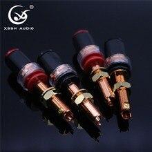4Pcs XSSHเสียงHIFI DIY Realสีแดงทองแดงอิเล็กทรอนิกส์Banana Plugซ็อกเก็ตหญิงเครื่องขยายเสียงลำโพงTerminalยาวBindingโพสต์