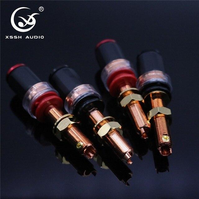 4Pcs Xssh Audio Hifi Diy Real Rood Koper Elektronische Banaan Plug Vrouwelijke Socket Speaker Eindversterker Terminal Lange Binding post