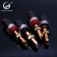 4pcs XSSH Audio HIFI DIY Real Red Copper Electronic Banana Plug Female Socket Speaker power amplifier terminal Long Binding Post
