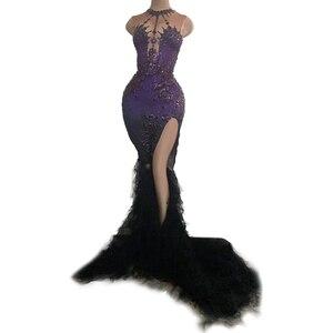 Винтажное фиолетовое Кристальное сексуальное длинное платье Русалочки для женщин, свадебное праздничное платье с высоким разрезом, Сетчат...