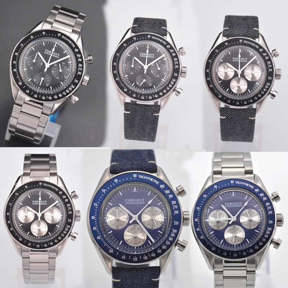 Corgeut 40MM 24 ชั่วโมง Multi-Function สแตนเลส Chronograph นาฬิกาควอตซ์ часы мужские หนังกีฬา relogio masculino