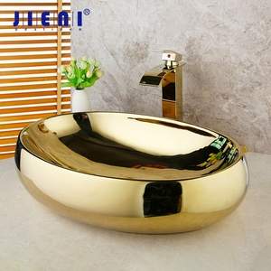 JIENI Polished Gold Bathroom Ceramic Basin Sink Golden Plated Solid Brass Faucet Tap Set Bowl Vessel Washbasin Sink W/ Pop Drain(China)