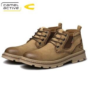 Image 5 - Camel Active nowe męskie buty ze skóry naturalnej ręcznie mężczyzna na zewnątrz buty w stylu casual grube podeszwy szwy antypoślizgowe męskie obuwie