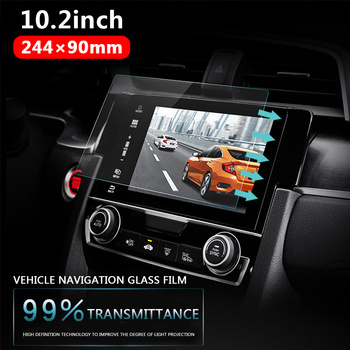 Vehemo Car Tempered Glass For Car GPS MP5 Video Player Screen Protector Film Premium 10.2 Inchs 244x90mm DVD Guard LCD Monitor image