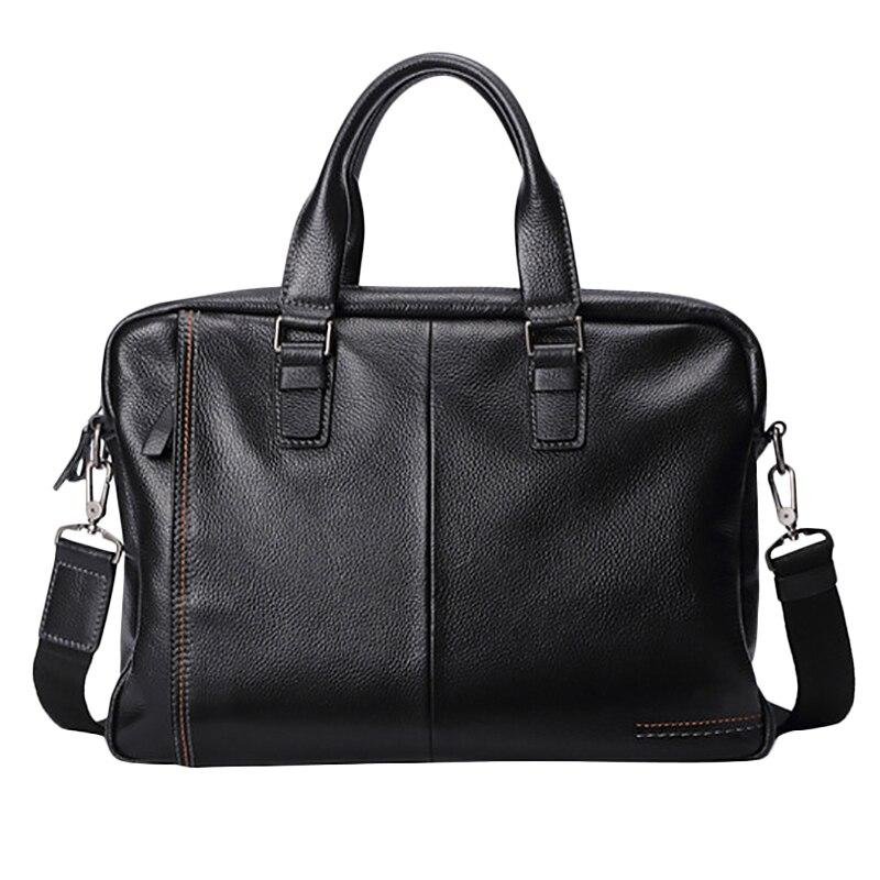 ABZC-New Leather Men'S Briefcase Fashion Large Capacity Business Bag Black Male Shoulder Laptop Bag