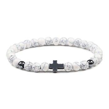 6mm Black Lava Rock Stone Onyx Beads Bracelets Classic Cross Stretch Tiger Eye Bracelet Religion Bangle Women Men Wrist Jewelry 2
