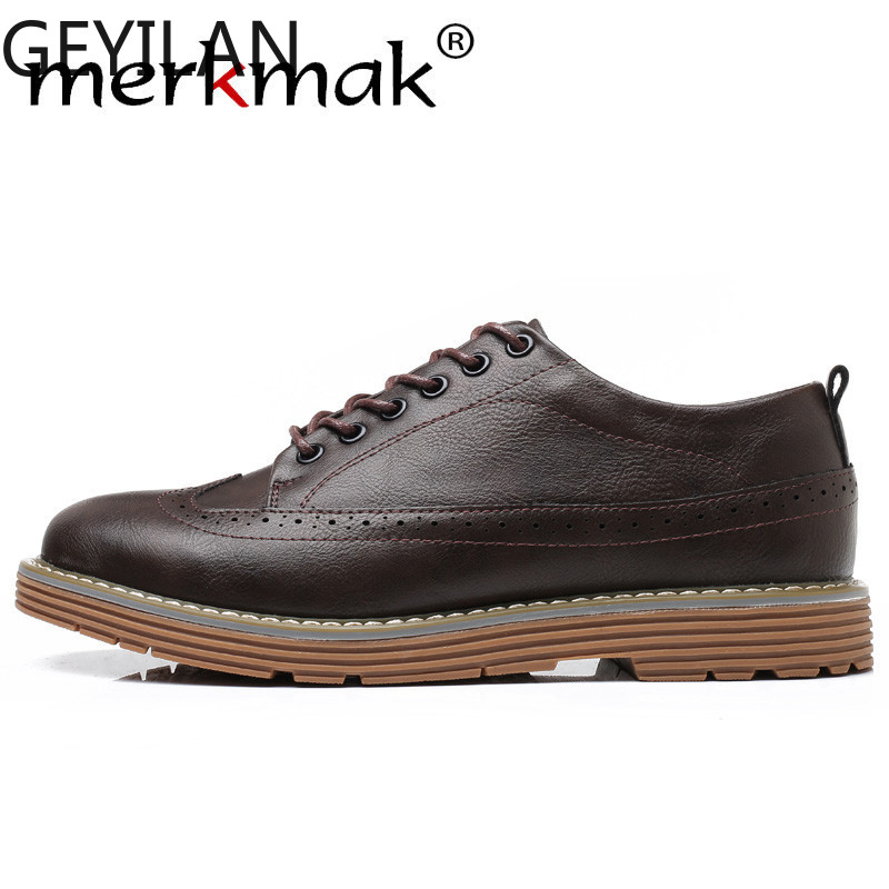 Black Men Dress Leather Shoes Brogue Italian Style Formal Men Footwear Larger Size 46 Bullock Casual Shoe Flats For Man