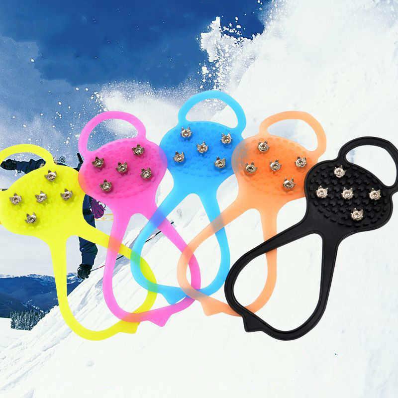 Juego de zapatos antideslizantes al aire libre campo de nieve Simple y fácil 5 dientes crampones garras de garra para nieve antideslizantes crampones de cinco dientes