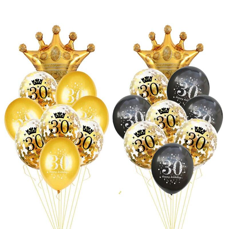 30, 40, 50, 60 лет, шар на день рождения, 30 дней рождения, украшения, номер 50-го, товары для взрослых, золотой, черный