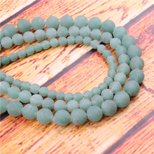 Frosted Green Tangling Natural Stone Bead Round Loose Spaced Beads 15 Inch Strand 4/6/8/10/12mm For Jewelry Making DIY Bracelet