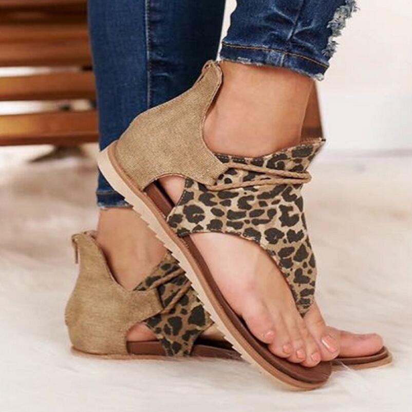 Sandalias Mujer 2020 Summer Hot Women's Shoes Roman Flip-flops Non-slip Snake Pattern Women's Leopard Sandals Large Size 35-43