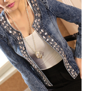 Image 4 - FMFSSOM 2020 New Arrival Spring Antumn Denim Jackets Vintage Diamonds Casual Coat Womens Denim Jacket For Outerwear Jeans