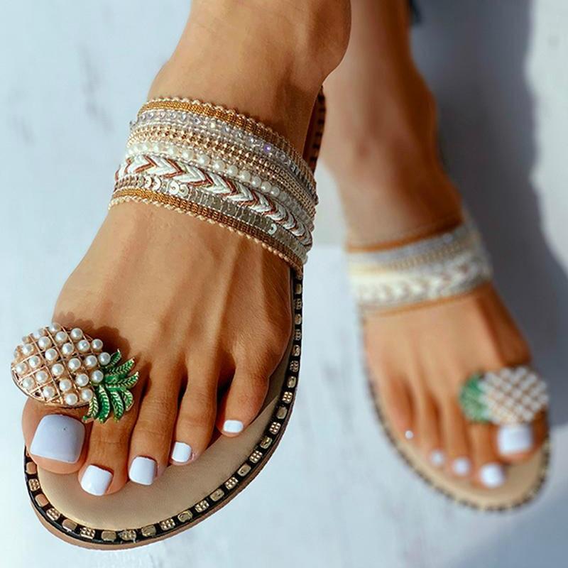 Women Pattern Toe Ring Flat Slipper Pineapple Pearl Bohemian Casual Shoes Beach Sandals Ladies Shoes Platform Sandalias