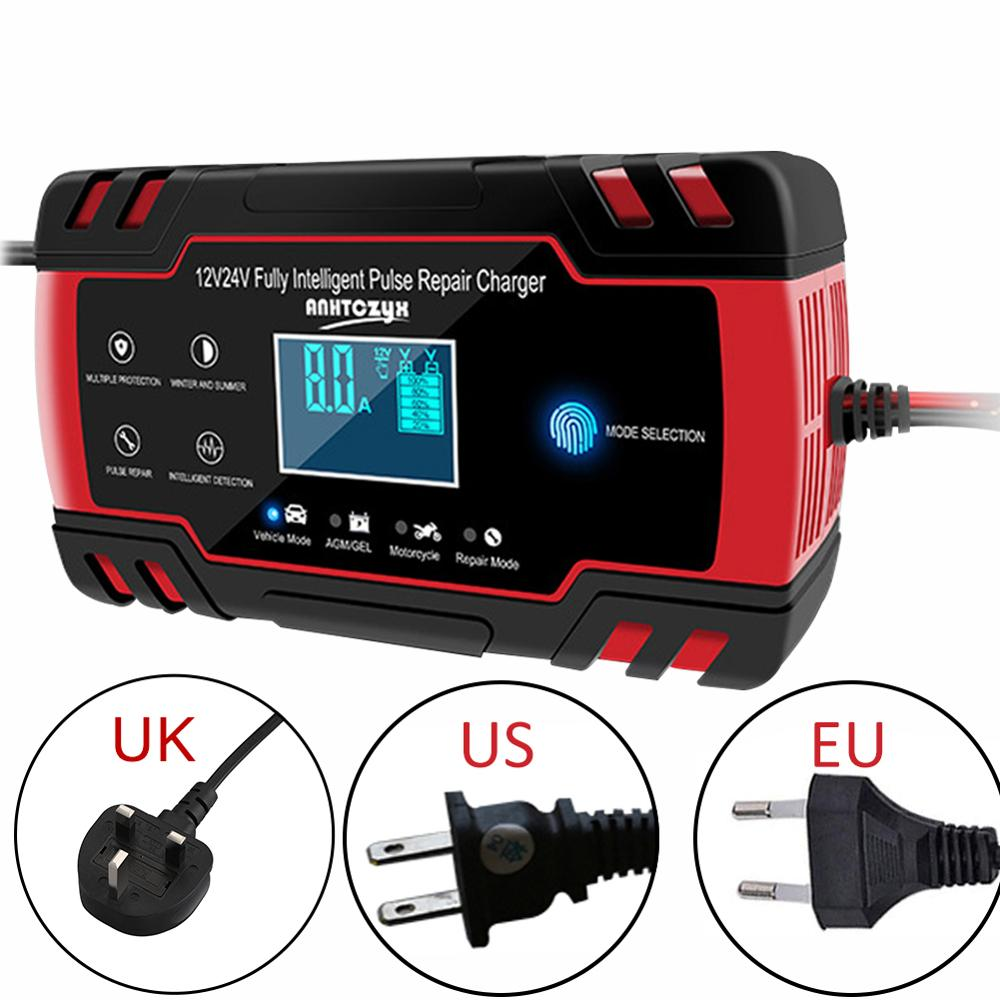 12/24V <font><b>Car</b></font> <font><b>Battery</b></font> Charger Power Touch Screen Pulse Repair Charger AGM Wet Dry Lead Acid <font><b>Battery</b></font>-chargers Digital LCD Display image