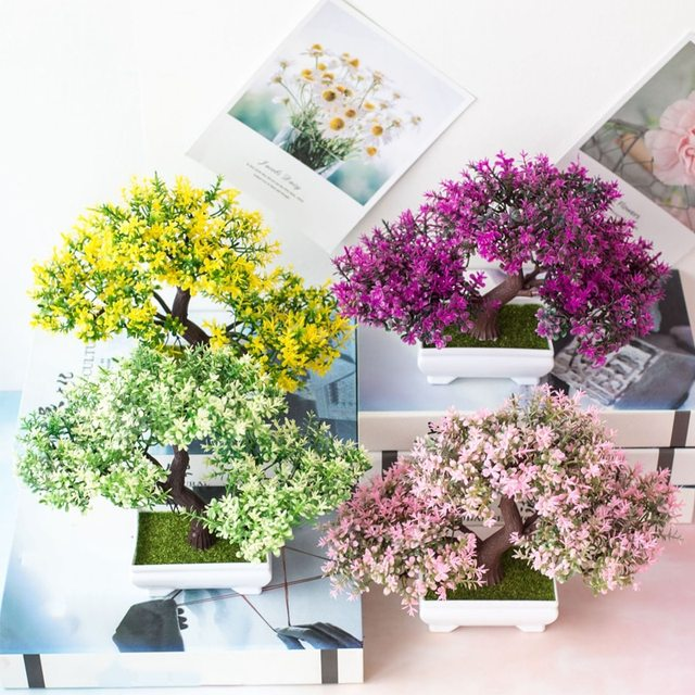 Artificial Plants Pine Bonsai Small Tree Pot Plants Fake Flowers Potted Ornaments For Home Decoration Hotel Garden Decor 4